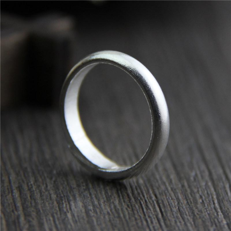 Handmade Ring Simple Real Pure 100% 925 Sterling Silver Rings For Women Open Type Matt Processing