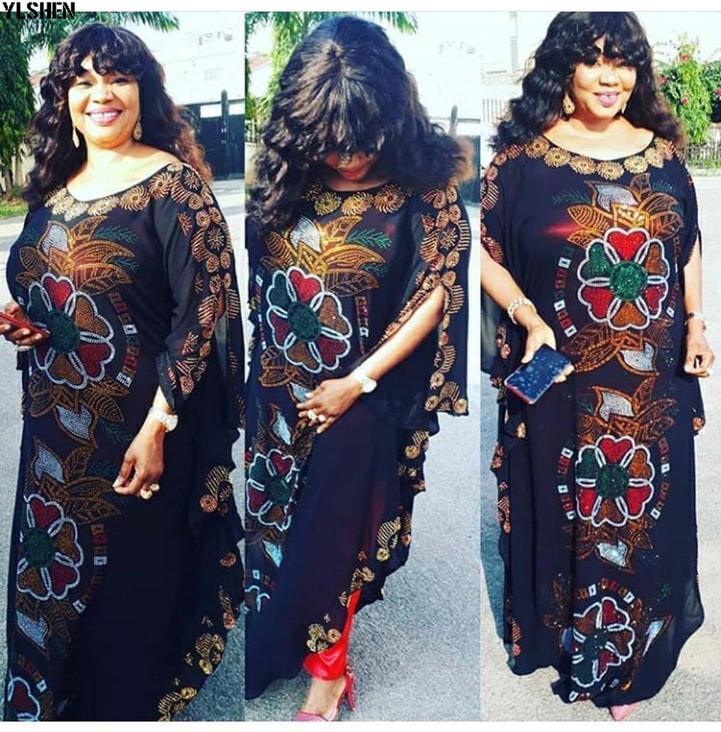 New African Dresses for Women Dashiki Diamond Ankara African Clothes Bazin Rich Robe Boubou Africaine Dress Outfits Clothing