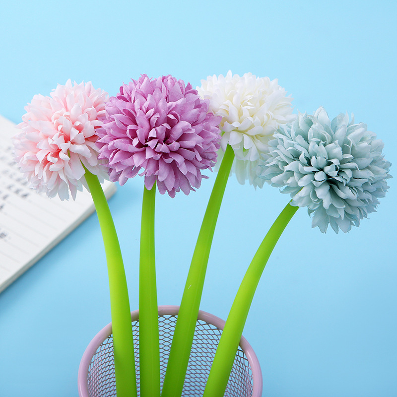 1 PCS Chrysanthemum Gel Pen 0.5mm Black Blue Ink Writing Student Office Flower Ball Signature Pen Stationery Supply