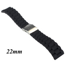 Black Silicone Rubber Watch Strap Band Deployment Buckle Waterproof 20mm 22mm T8NB