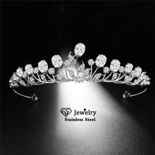 CC Bridal Crown Wedding Accessories for Women Engagement Hair Ornaments Crystal Hairwear Trendy Tiaras 100% Handmade Diadem HS68