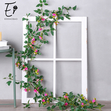 Erxiaobao High Quality Pink Red White Rose Vine Artificial Flowers Hanging Silk Fake Flower String Home Party Wedding Wall Decor