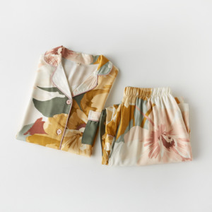 Image 4 - Femme Pajama Suit Print Flower Long Sleeve 2pcs Shirt+pants Nightwear Casual Women Pajamas Set Cotton Sleep Wear