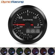 Dynoracing 2 ''52 мм двойной дисплей 2BAR турбо Boost gauge 7 цветов Led Boost meter с шаговым двигателем автомобильный метр BX101496