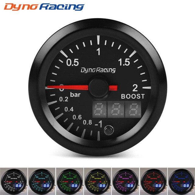 Dynoracing 2 52mm Dual Display 2BAR Turbo Boost gauge 7 colors Led Boost meter with Stepper Motor Car meter BX101496