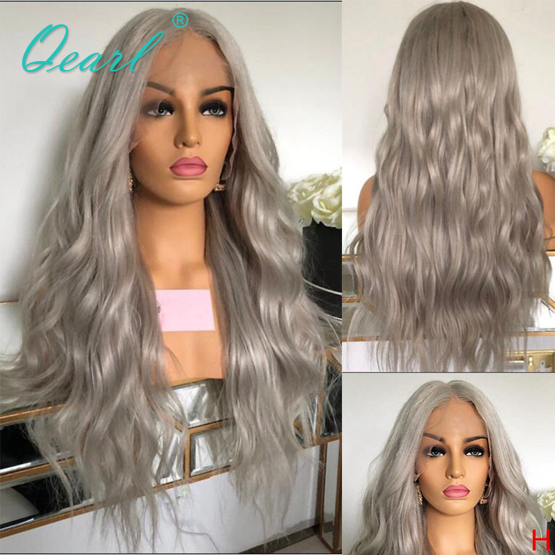 Silver Grey Color Human Hair Lace Front Wig Malaysian Wavy Remy Hair Transparent Bleached Knots 13x4 130% 150% For Women Qearl