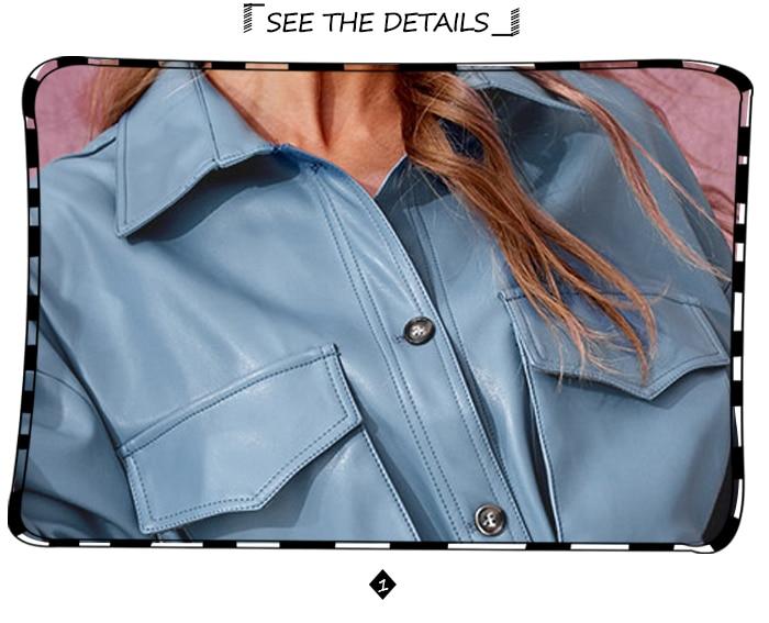 SINRGAN/короткое платье из искусственной кожи синего цвета с поясом; женская уличная одежда больших размеров; куртка с одной пряжкой; сезон осень-зима
