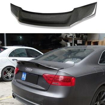 R Style Carbon Fiber Rear Trunk Spoiler Wing Fit for Audi A5 4Doors Sedan 2010 - 2015 for bmw f10 high kick big trunk spoiler wing frp unpainted m5 style 5 series 520i 525i 528i 535i 550i wing rear spoiler 2010 17