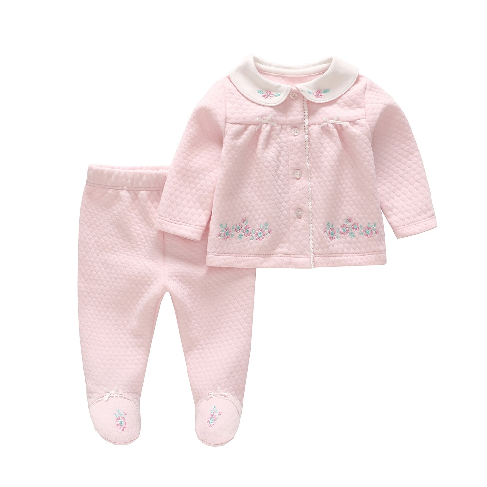 Vlinder Baby girl clothes set Newborn baby girl cute Clothing Long Sleeves  Outerwear Floral Trousers 2pcs Cotton Snug Baby Sets