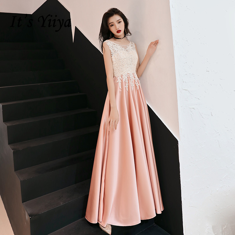 It's Yiiya Evening Dress O-neck Lace Elegant Formal Gowns 2020 Plus Size Evening Dresses Sleeveless Long robe de soiree LF129