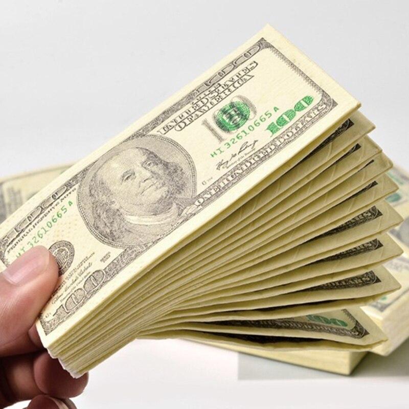 9 sheets/pack 100 Dollars Print Paper Napkin Serviette Bill Towel Party Gift Napkins for Dinner Restaurant