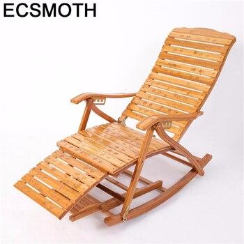 Sillón Plegable de bambú Para Sala de estar, sillón Reclinable