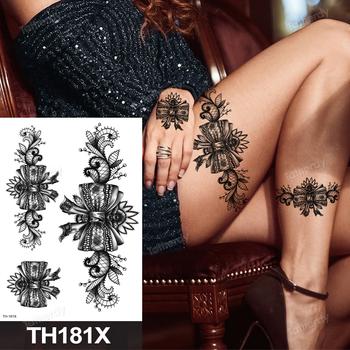 Fałszywe henna czarne koronkowe kwiaty i mandala sexy wodoodporna tymczasowa tatuaż dla kobiet udo tatuaż na ciele szkic kwiat róża piwonia duża tanie i dobre opinie Tattrendy Jedna jednostka CN (pochodzenie) 21cm*15cm Zmywalny tatuaż Sketch flowers tattoo sticker Waterproof Once eco-friendly nontoxic
