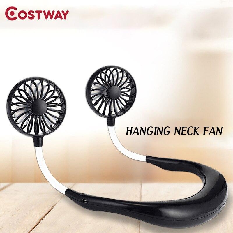 COSTWAY Portable Hanging Neck Small Fan Sports Travel Lazy Folding Charging Usb Rechargeable Mini Fan HA0024