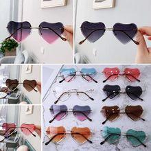 Новые детские солнцезащитные очки без оправы для девочек, детские солнцезащитные очки в форме сердца