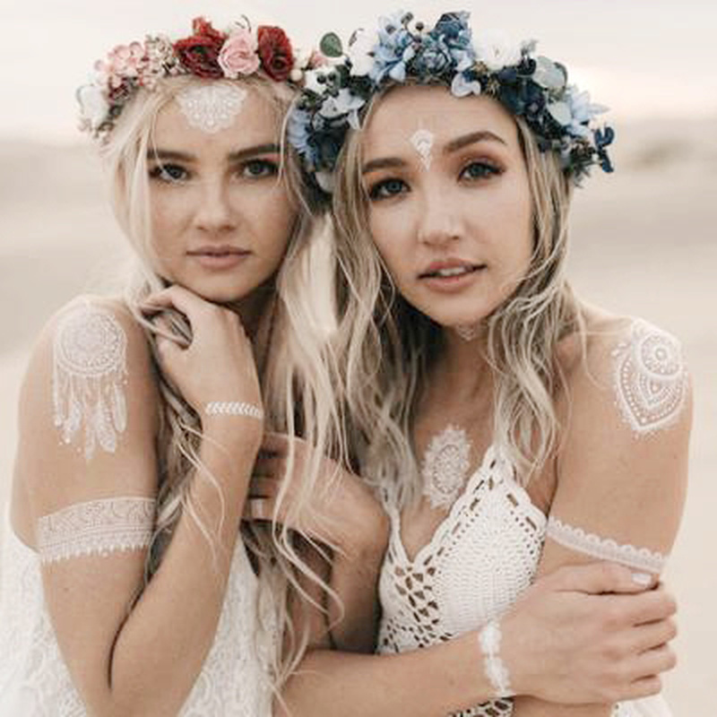 Indian Designs Lace Tattoo Sticker White Lace Necklace Flower Temporary Tattoo Sticker Body Art Paint Waterproof For Wedding