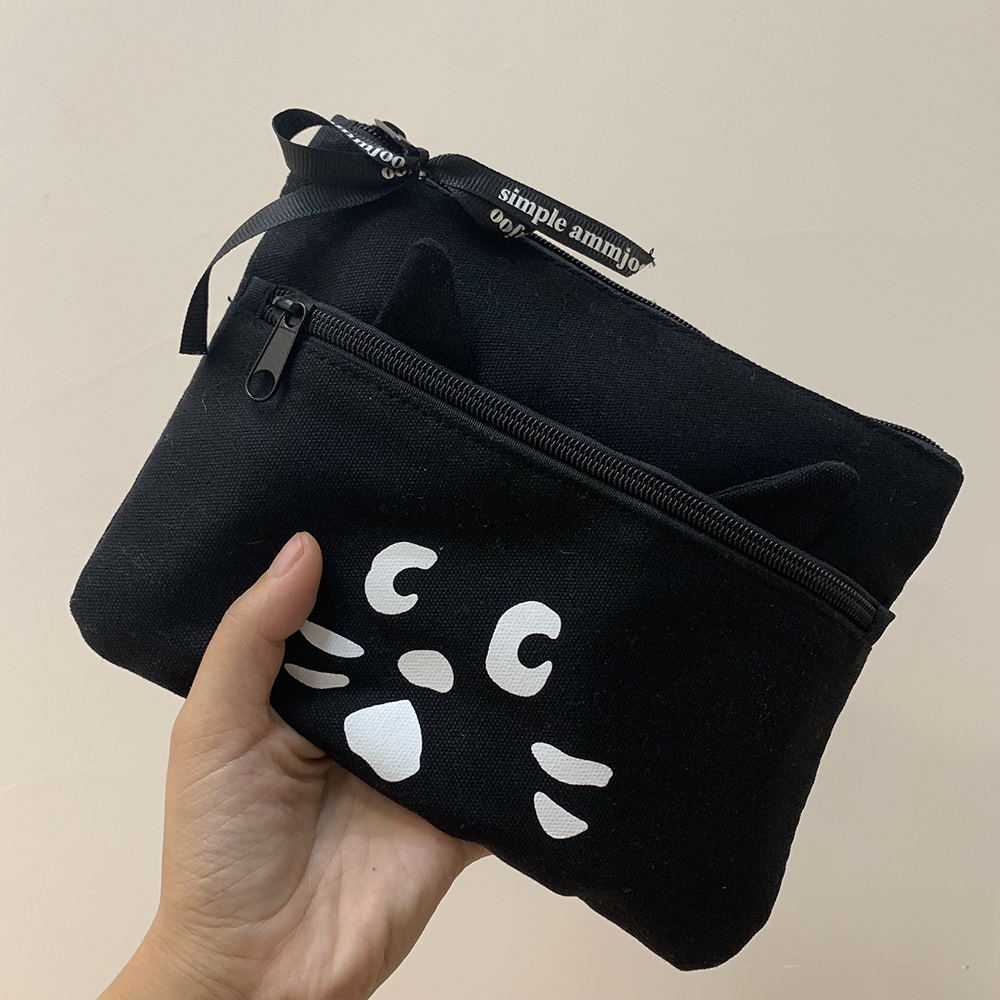 SIXONE Ins Cartoon Canvas Cat Pencil Case Kawaii Accept Package Large Space Zipper Makeup Package Portable Handbag Stationery