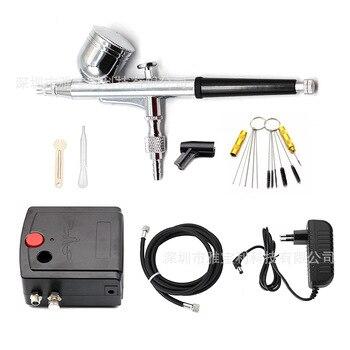 Double-Action Spray Gun Spray Gun with Compression Machine 0.3mm Spray Gun Kit for Manicure Spray Gun for Model/Cake/Car Paint