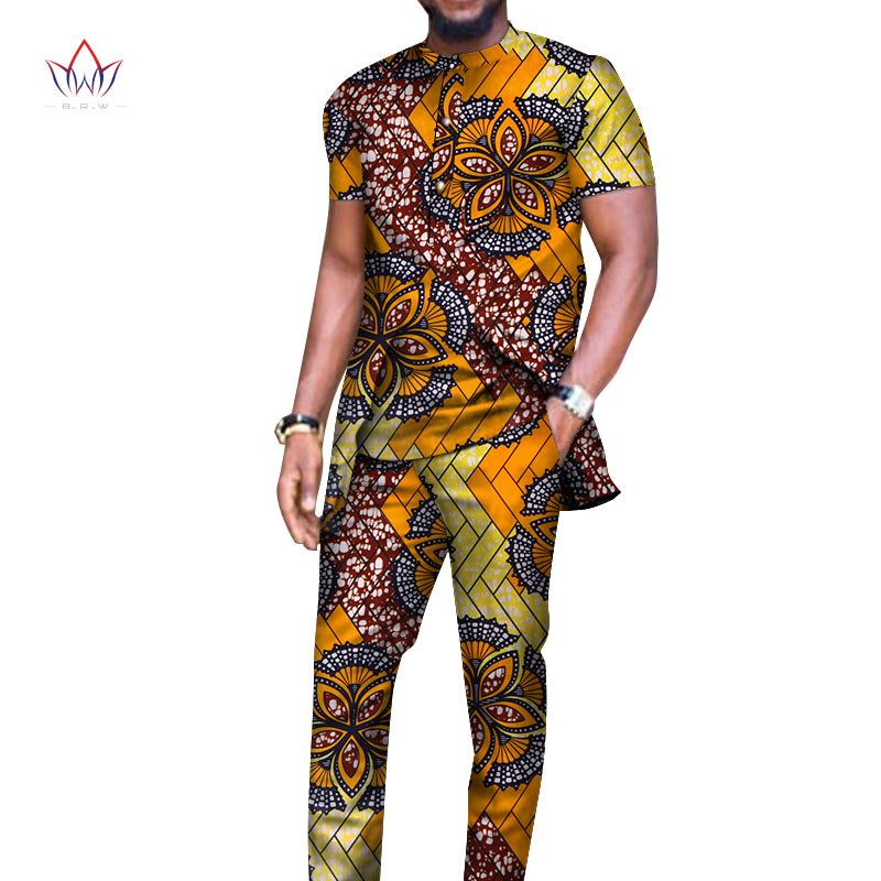 Bazin Riche Men 2 Pieces Pants Sets African Design Clothing African Clothes Casual Men Long Top Shirts And Pants Sets WYN514