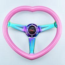 مع شعار JNA الذرة العميقة الفتيات عجلة القيادة شكل قلب JDM سباق عجلة توجيه سيارة عجلة القيادة