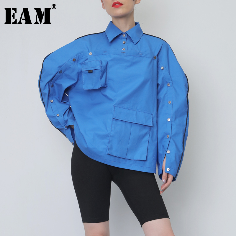 [EAM] Women Blue Button Pocket Sititch Big Size Blouse New Lapel Long Sleeve Loose Fit Shirt Fashion Spring Autumn 2020 JY076