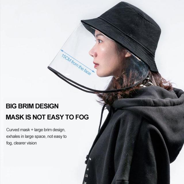 Protective Face Shield Transparent Mask Anti-fog Saliva Face Masks Windproof Fisherman Hat With Removable Gorro Protection Cap