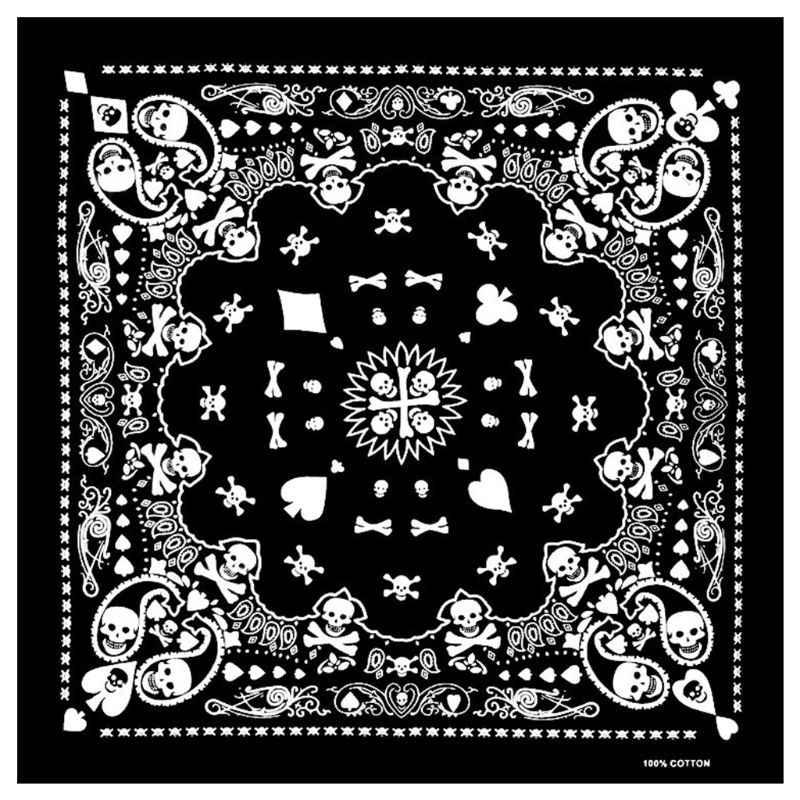 55X55 ซม.สีขาวสีดำกะโหลกศีรษะโป๊กเกอร์เรขาคณิตผ้าพันคอ Unisex Harajuku Hip Hop สแควร์ Headband รถจักรยานยนต์กีฬาห่อผมสายรัดข้อมือ