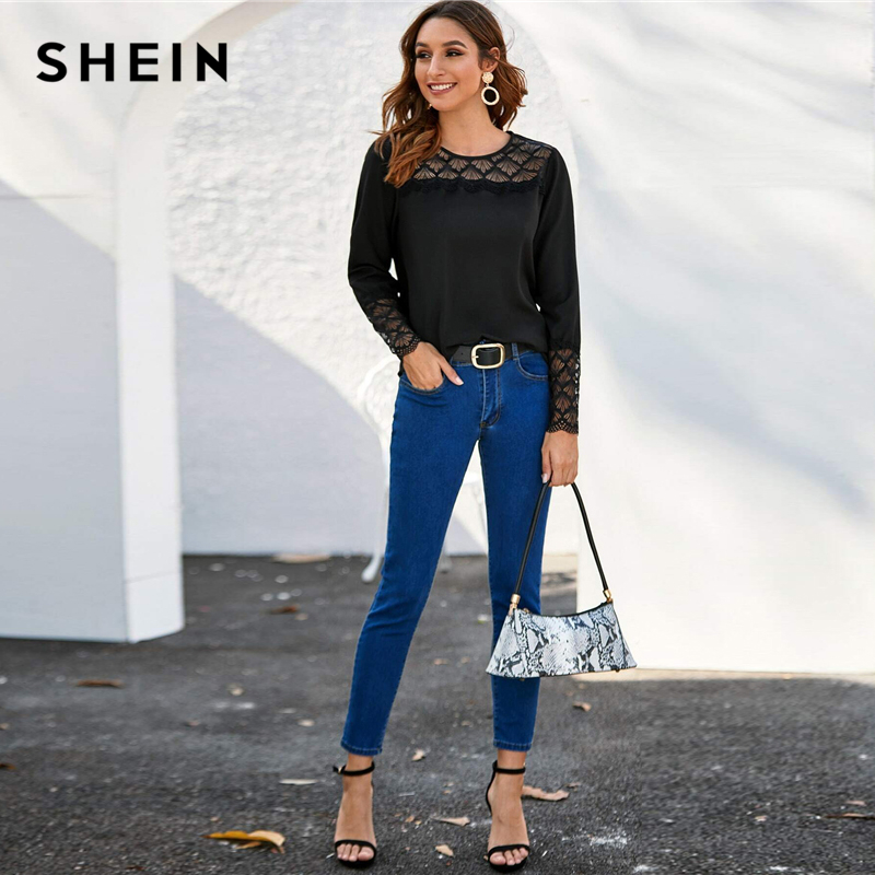 SHEIN Black Lace Yoke and Cuff Solid Top Women 2020 Spring Blouse Long Sleeve O-neck Ladies Elegant Blouses and Tops 2