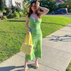 Sexy Dress Women Y2K Green Print Knit Bodycon Sleeveless Spaghetti Strap Beach Party Midi Summer Dress 2021 Robe Femme Vestidos 4