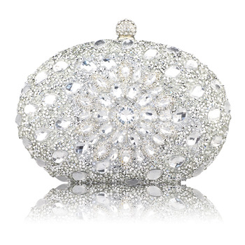 Wedding Diamond Silver Floral Crystal Sling Package Woman Clutch Bag Cell Phone Pocket Matching Wallet Purse Handbags 1