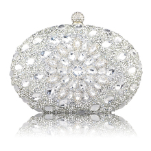 Wedding Diamond Silver Floral Crystal Sling Package Woman Bag Clutch