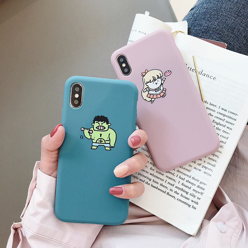 For iPhone 8 case funny fat Sailor Moon Marvel Hulk cute Phone case for coque iPhone 7 6 6s Plus X XR XS Max case silicone cover in Fitted Cases from Cellphones Telecommunications