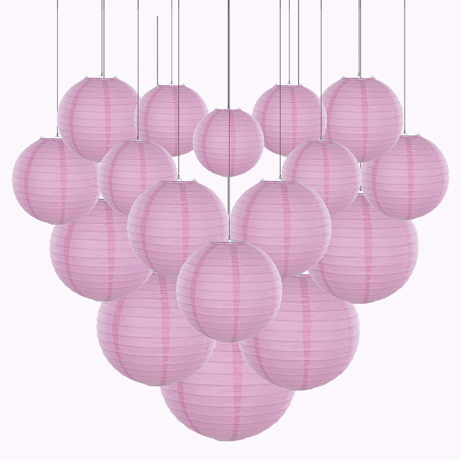 20pcs/Lot Mix Size 6''-12'' Pink Paper Lanterns Chinese Paper Lantern Ball Lampion For Wedding Party Holiday Hanging Decoration