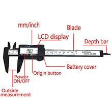 Nova chegada 150mm 6 polegada lcd digital de fibra carbono eletrônico vernier caliper calibre micrômetro ferramenta medição qst008