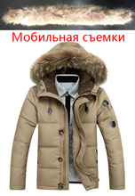 90 White Duck Down winter Warm Coat 2019 new Hat Detachable Fur Collar Parkas Down Jacket Hooded Feather Clothing for Men Male cheap JUNGLE ZONE Thick (Winter) JUNGLE ZONE YR8232 REGULAR Casual Single Breasted Denim Acetate Full Solid Pockets Zippers