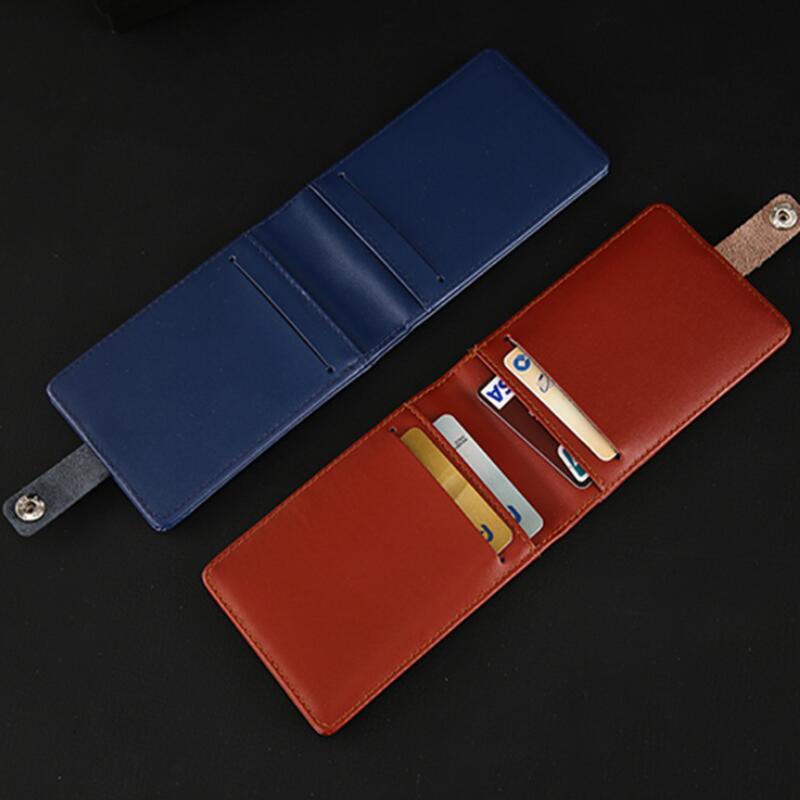 5 Slot Leather Wallet Work Office ID Badge Credit Card Holder Neck Lanyard Strap