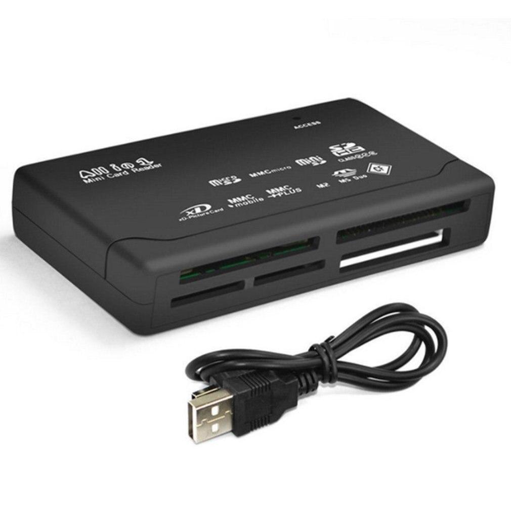 Leitor de cartão de memória mini 26-em-1 usb 2.0 de alta velocidade para cf xd sd ms sdhc com leitor de cartão claro led
