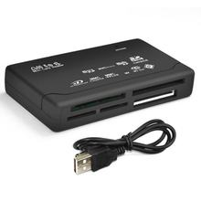 Leitor de cartão de memória mini 26 em 1, usb 2.0, alta velocidade para cf xd sd ms sdhc com leitor de cartão luz led