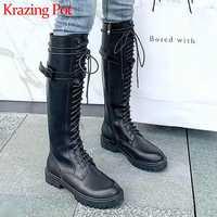 Krazing topf klassische streetwear kuh leder ritter stiefel runde kappe med heels solide lace up winter warm halten oberschenkel hohe stiefel L68