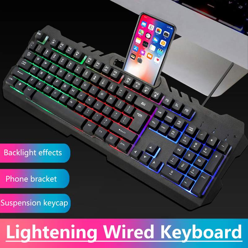 Wired LED Gaming Mechanical Keyboard With Backlight Phone Holder Illuminated Ergonomic For Office Home Desktop PC Computer Gamer