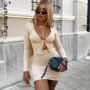 Cryptographic Autumn Lacing Tie Front Top and Skirts Two Piece Set Women Fashion Outfits Ruffles Sexy Matching Sets Top Solid