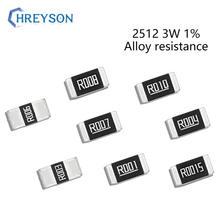 Conjunto da liga de 50 pces 2512 3w smd do resistor 1% tolerância 0.008r 0.035r 0.06r 0.13r 0.24r 0.33r 0.4 ohm baixo jogo da resistência da microplaqueta ohmic