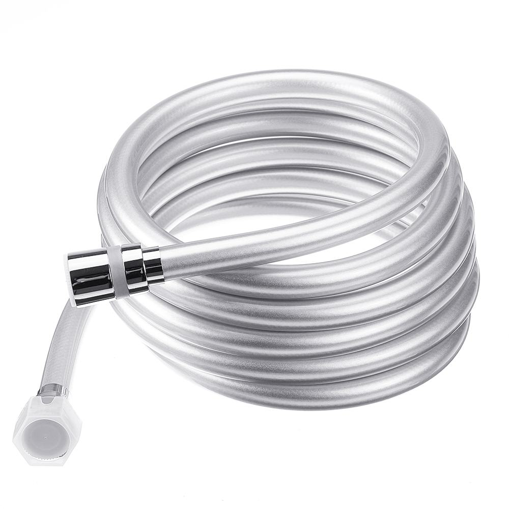 1.5/2/3 Meter 1/2'' PVC Smooth High Pressure Water Shower Hose 360 Degree-Swivel Long Hose For Bath Handheld Shower Head Silver