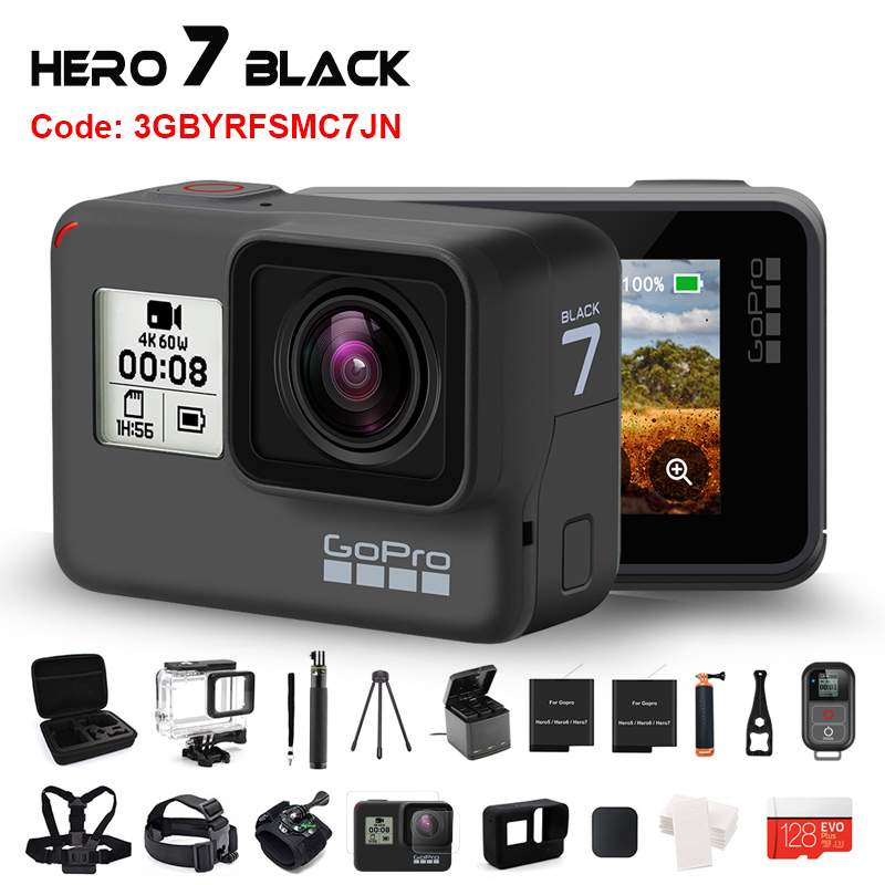 Original GoPro HERO 7 Black Waterproof Action Camera 4K Ultra HD Video 12MP Photos 1080p Live Streaming Go Pro Hero7 Sports Cam 1