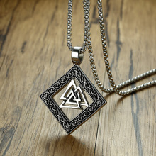 Classic Retro Viking Rune Necklace Round Rhombus Pendant for Men Stainless Steel Scandinavian Nordic Triple Knot Amulet Jewelry