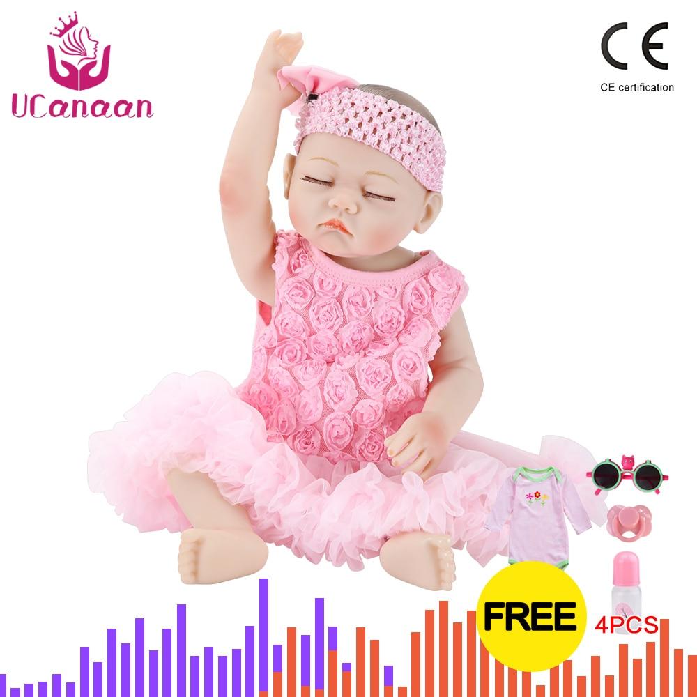 "20/"" Realistic Sleeping Reborn Baby Doll Girl Newborn Lifelike Vinyl Silicone US"