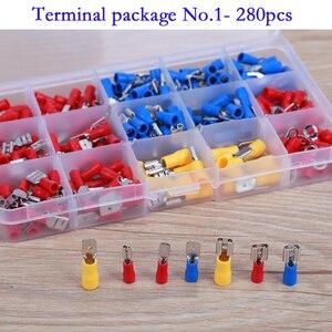 Image 1 - 280 Pcs Assortiti Pieno Isolato Forcella U Tipo di Set di Terminali Connettori Elettrici Crimp Spade Anello Terminali Isolati