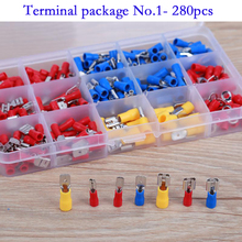 280pcs Assorted Full Insulated Fork U type Set Terminals Connectors Electrical Crimp Spade Ring insulated terminals