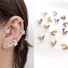 MENGJIQIAO-pendientes de mariposa para mujer, con diamantes de imitación, Color dorado, sin Piercing, cartílago falso, regalos