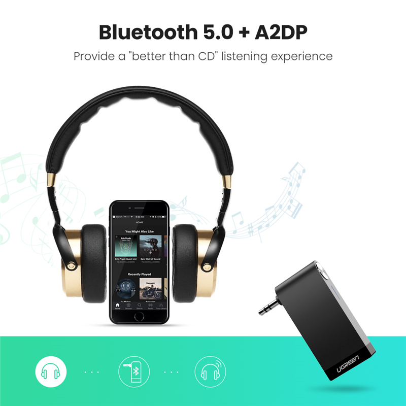 cheapest UGREEN Bluetooth Receiver Portable Mini Music Audio Adapter 5 0 Car Aux Adapter 3 5mm Stereo Hands-Free Car Kits for Home TV Car